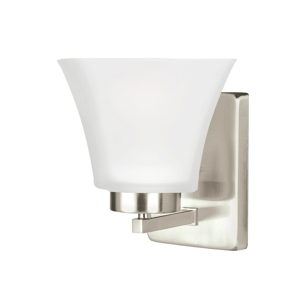 Sea Gull Lighting Bayfield 1 Light Brushed Nickel Wall Sconce 4111601ble 962 The Home Depot