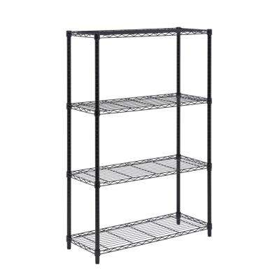 4-Tier 54 in. H x 36 in. W x 14 in. D 350 lbs. Steel Shelving Unit in Black