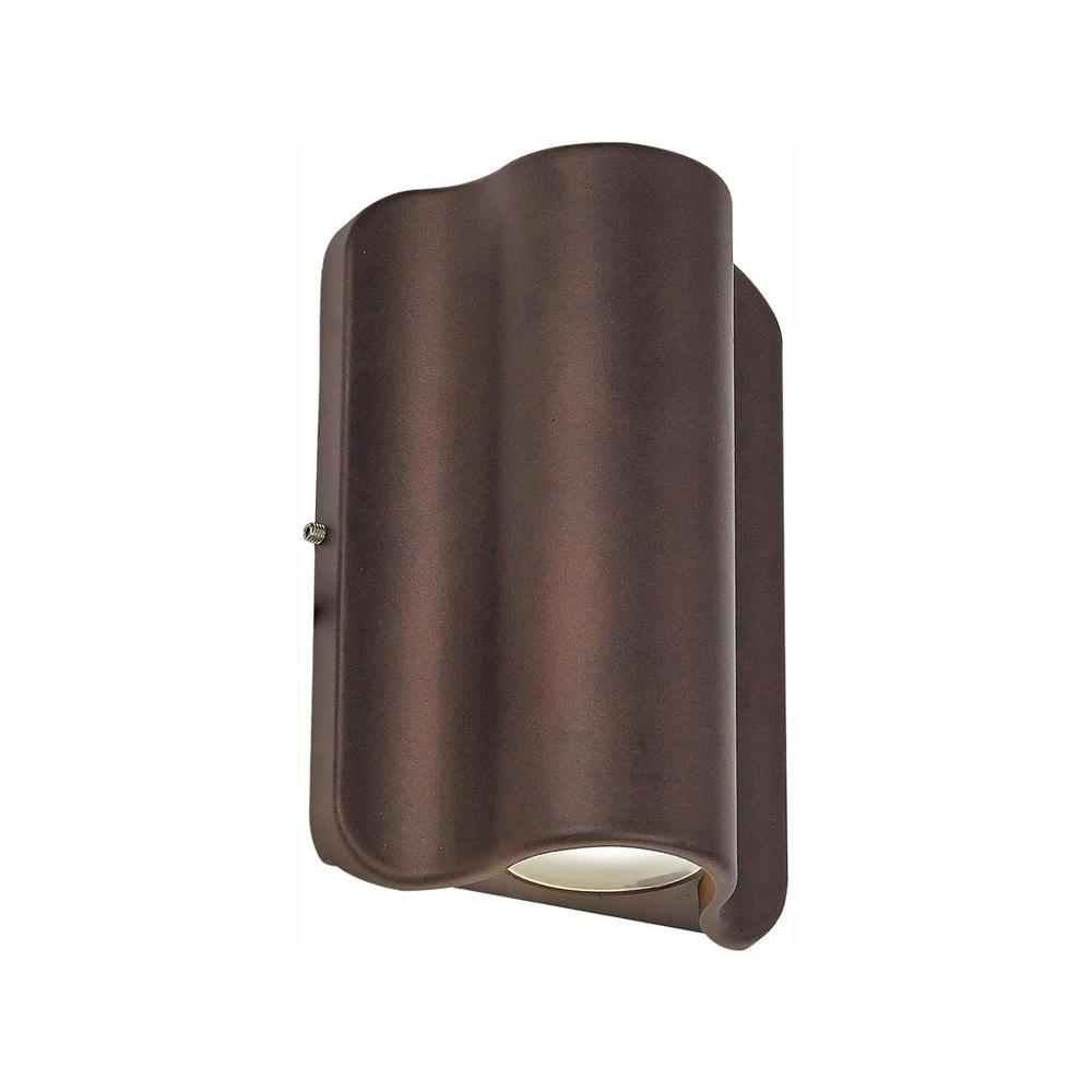1 Light Bronze Outdoor Integrated LED Wall Lantern Sconce was $107.8 now $21.56 (80.0% off)