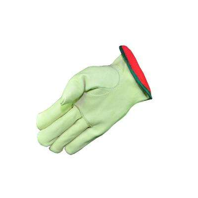 Cold Weather Premium Genuine Grain Pigskin Leather Large Gloves with Red Fleece Lining (3-Pair)