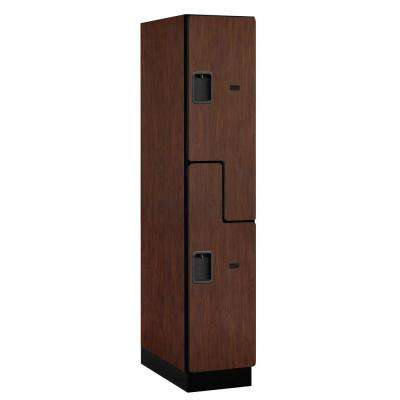 "27000 Series Double-Tier ""S"" Style 24 in. D 2-Compartments Extra Wide Designer Particle Board Locker in Mahogany"