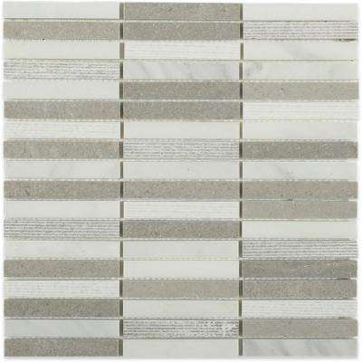 Exterior Tech Gray Brick Joint  12 in. x 12 in. Marble Mosaic Tile
