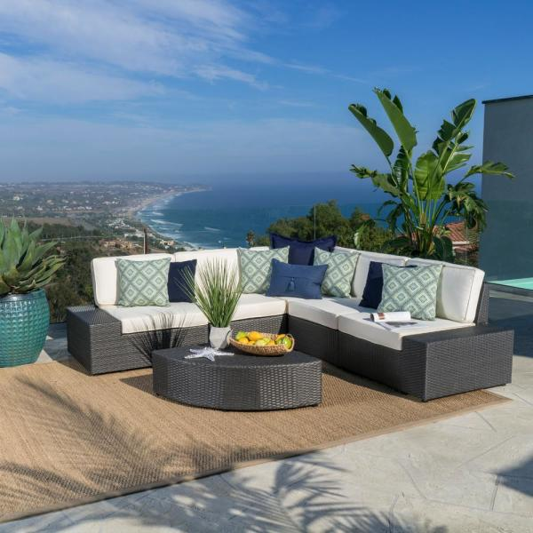 Noble House Santa Cruz Grey 6-Piece Wicker Outdoor Sectional Set with White Cushions