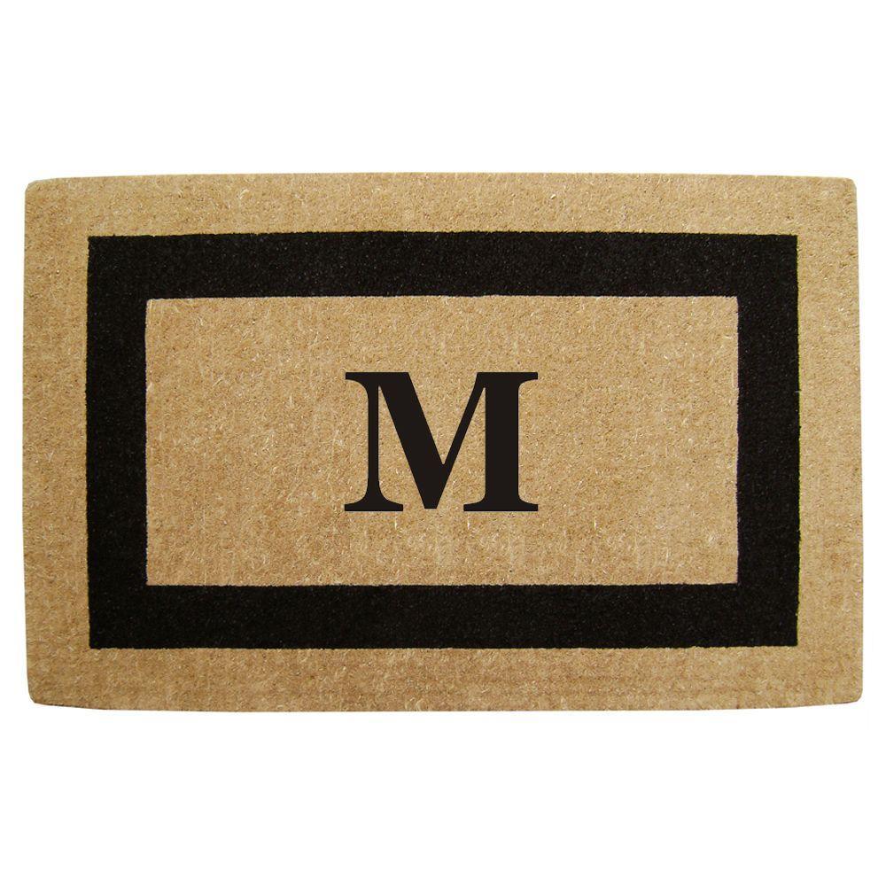 Single Picture Frame Black 30 in. x 48 in. HeavyDuty Coir Monogrammed M Door Mat