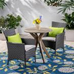 Jillian Gray 3-Piece Wood and Wicker Outdoor Bistro Set with Silver Cushions