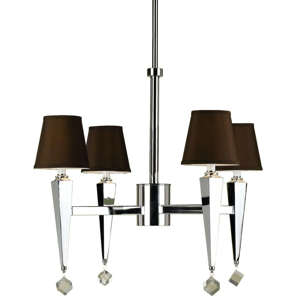 AF Lighting 6687 4-Light Chrome Chandelier with Chocolate Shades
