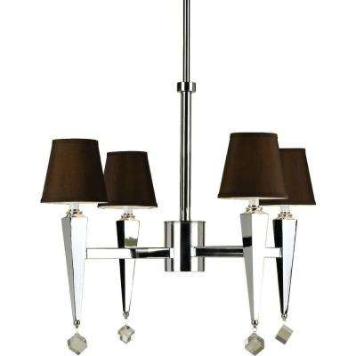 6687 4-Light Chrome Chandelier with Chocolate Shades