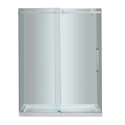 Moselle 60 in. x 77-1/2 in. Completely Frameless Sliding Shower Door in Chrome with Left Base