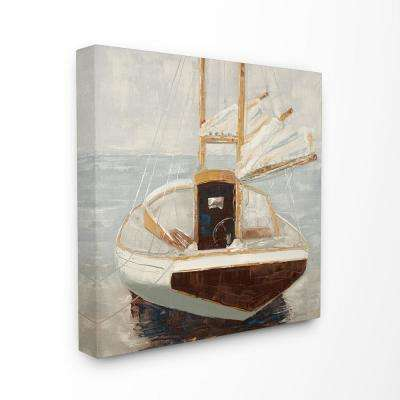 """17 in. x 17 in. """"Muted Neutral Sailboat at Port on a Calm Sea Painting""""by Artist Third and Wall Canvas Wall Art"""
