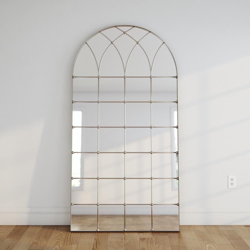 Titan Lighting 77 in. x 40 in. Gilded Arch Metal Framed Floor Mirror ...