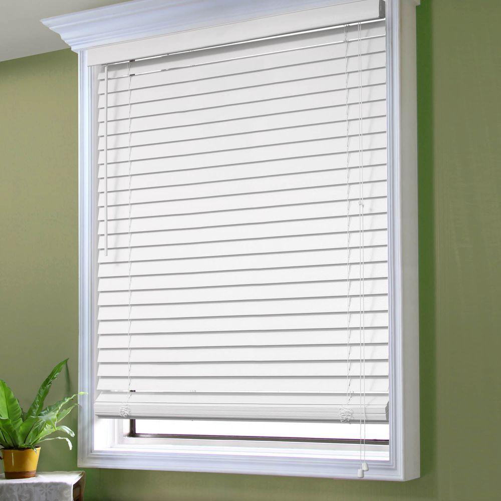 perfect lift window treatment white 2 in textured faux wood blind 20 in w x 36 in l actual. Black Bedroom Furniture Sets. Home Design Ideas