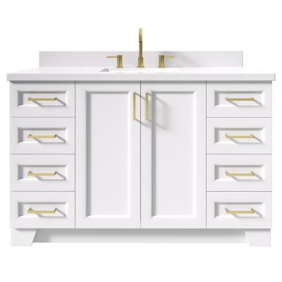 Taylor 55 in. W x 22 in. D Bath Vanity in White with Quartz Vanity Top in White with White Basin