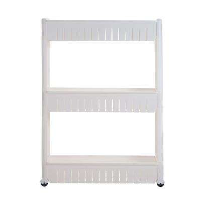 3-Tier 4-Wheeled Slim Slide Out Pantry in White