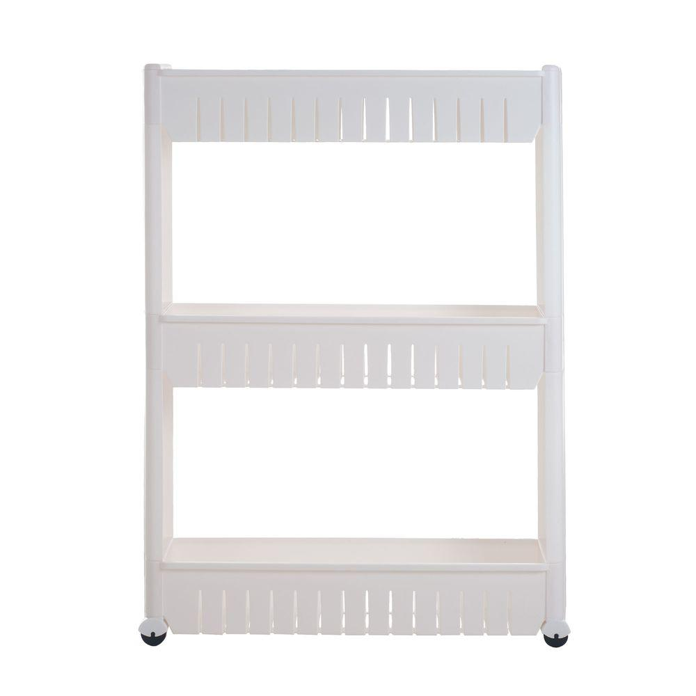 Chef Buddy 3-Tier 4-Wheeled Slim Slide Out Pantry in White-82-3LSS ...