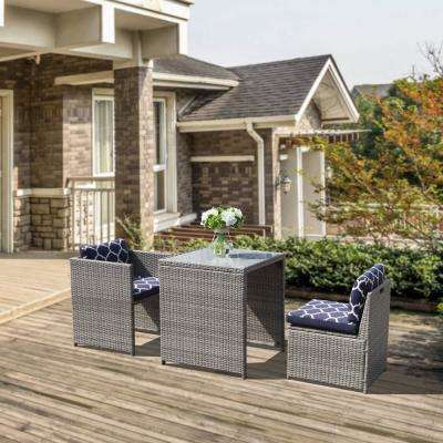 Orange Casual 3-Piece Wicker Outdoor Dining Set with Blue Cushions