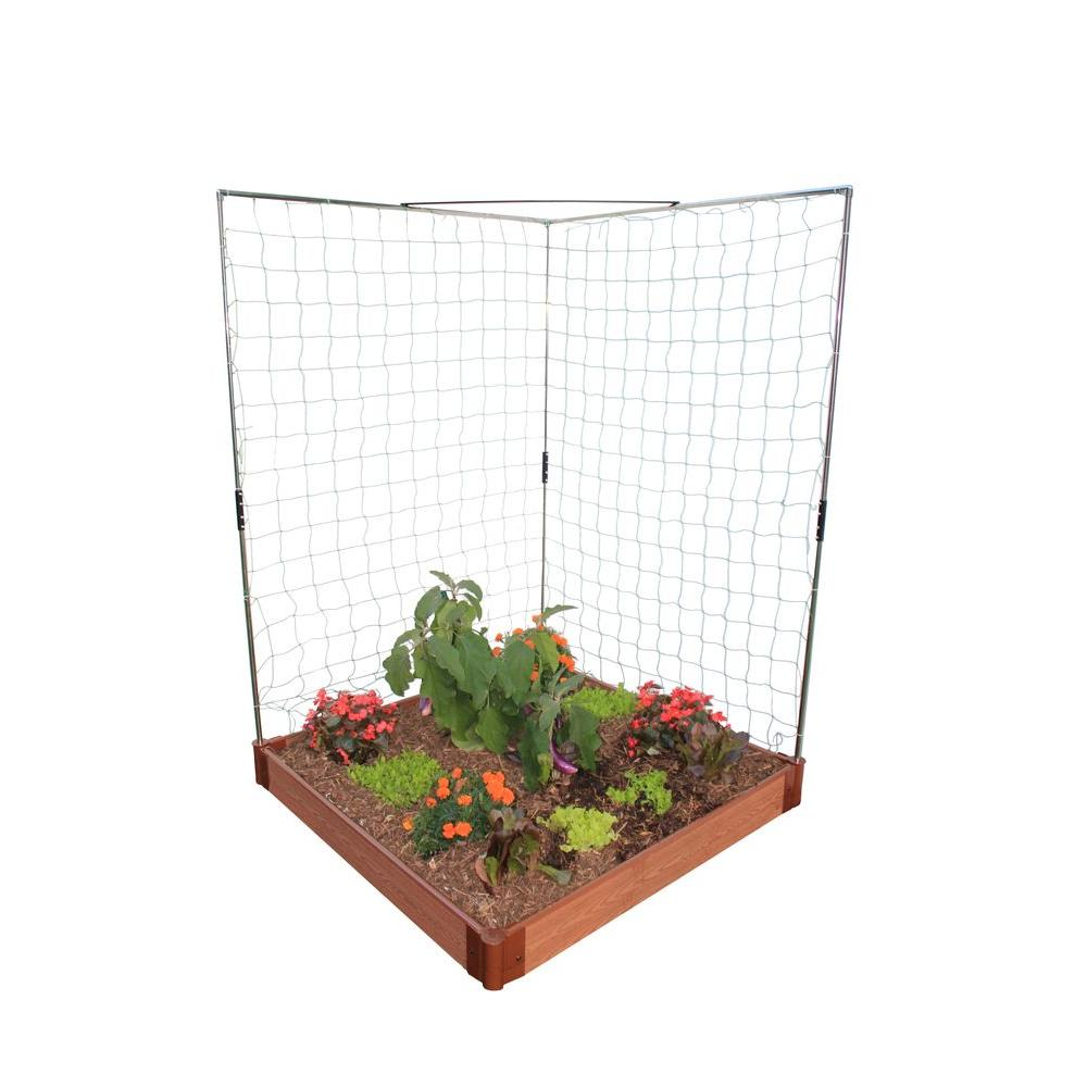 Frame It All Urban 4 ft. x 4 ft. x 6 in. Raised Garden in Composite Wood Grain Timbers with Veggie Wall Trellis-DISCONTINUED
