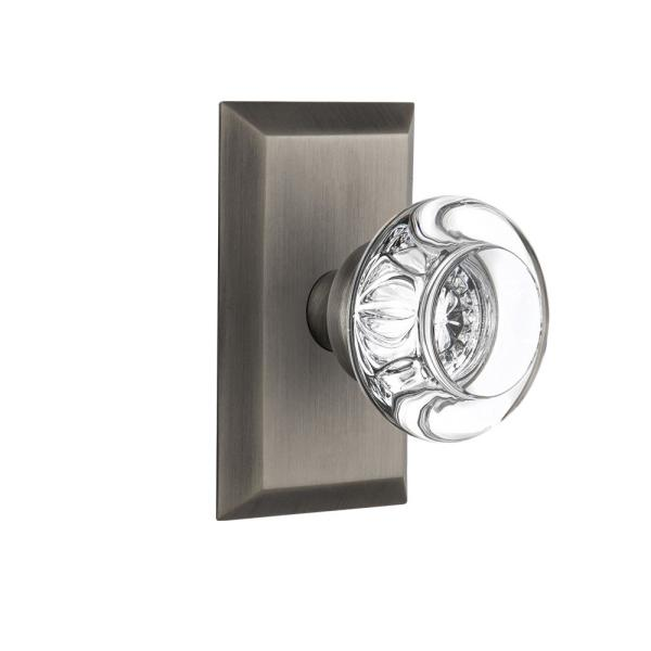 Nostalgic Warehouse Studio Plate 2 3 4 In Backset Antique Pewter Passage Hall Closet Round Clear Crystal Glass Door Knob 709828 The Home Depot