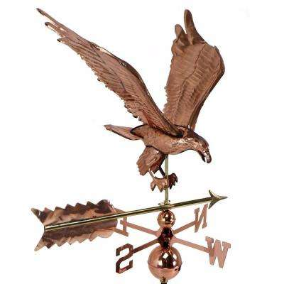 Copper Plated Eagle Weathervane Polished with Roof Mount