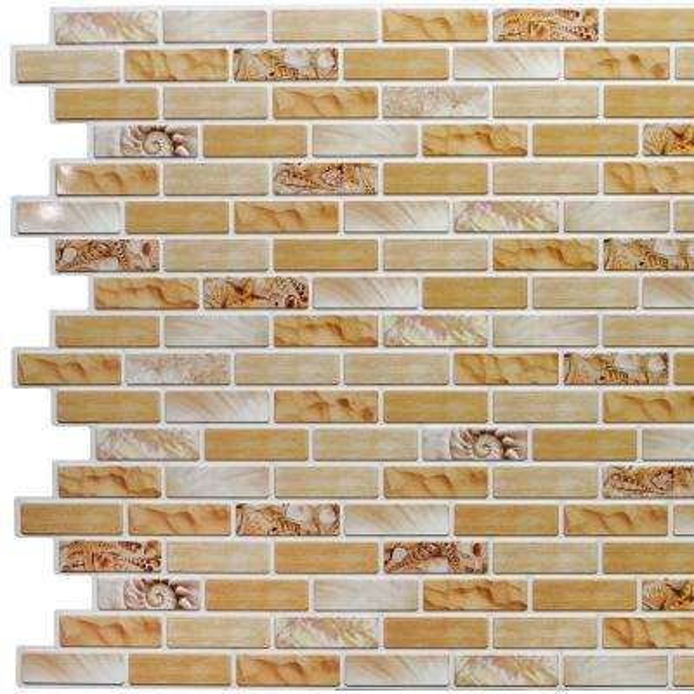 3D Falkirk Retro 10/1000 in. x 39 in. x 19 in. Greenish Beige Mustard Yellow Faux Bricks Seashells PVC Wall Panel