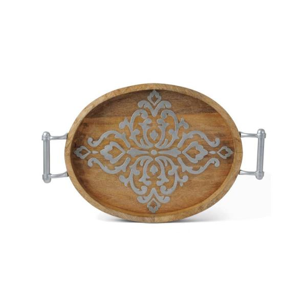 16.5 in. Wood and Metal Inlay Med Oval Tray 92843
