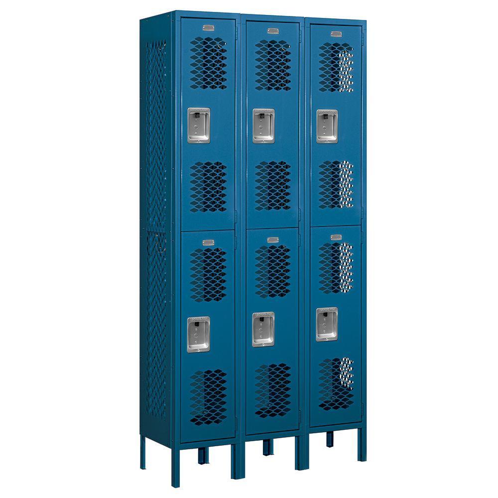 72000 Series 36 in. W x 78 in. H x 12 in. D Double Tier Vented Metal Locker Unassembled in Blue
