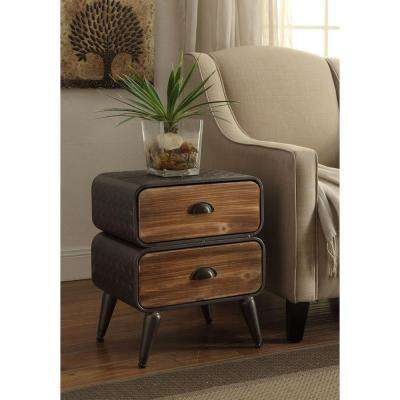 Urban Loft Rustic Natural Pine 2 Rounded Drawer Chest