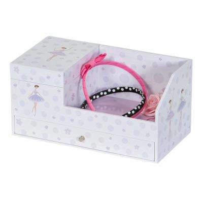 Bethany Girl's White Fashion Paper Musical Ballerina Jewelry Box