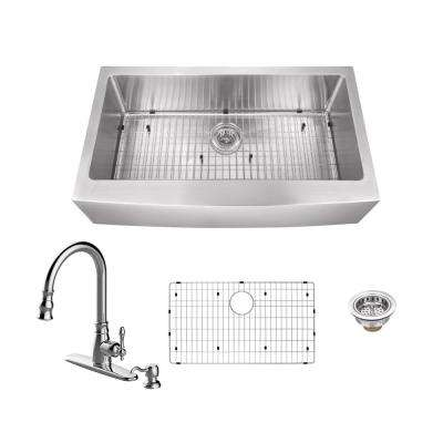 Apron Front Stainless Steel 30 in. Single Bowl Kitchen Sink with Arc Kitchen Faucet