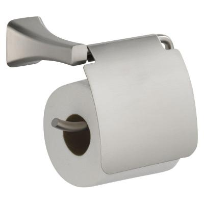 Tesla Single Post Toilet Paper Holder with Removable Cover in Brilliance Stainless