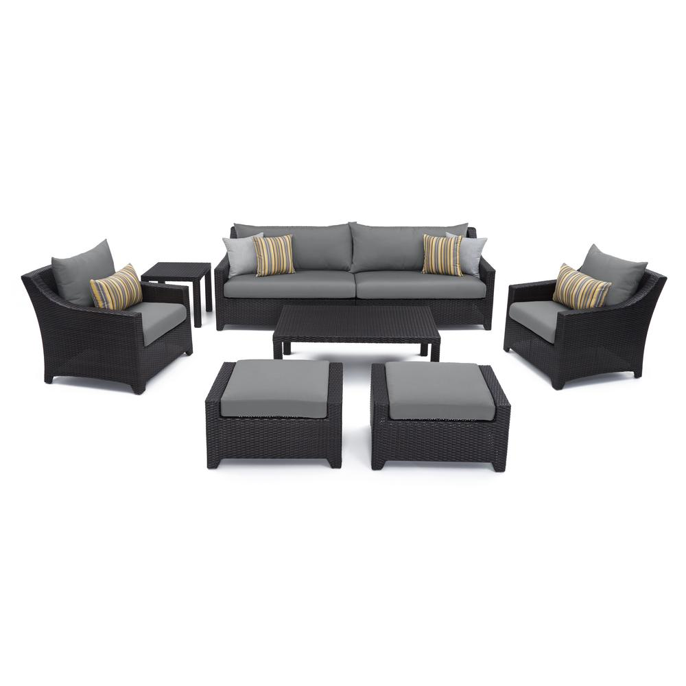 RST Brands Deco 8 Piece All Weather Wicker Patio Sofa And Club Chair Deep