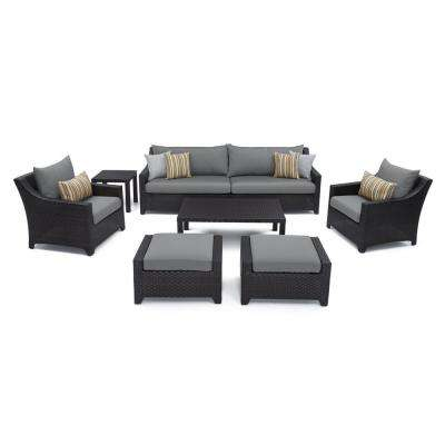 Deco 8-Piece All-Weather Wicker Patio Sofa and Club Chair Deep Seating Set with Sunbrella Charcoal Grey Cushions