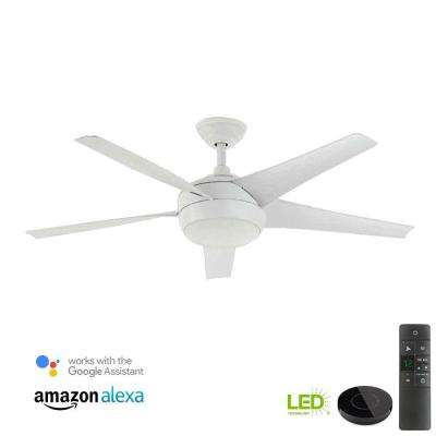 Windward IV 52 in. LED Matte White Ceiling Fan with Light Kit Works with Google Assistant and Alexa