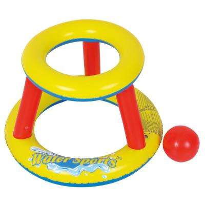 Inflatable Mini Splashketball Pool Game - Blow Up Basketball Hoop and Ball for Fun Water Sports