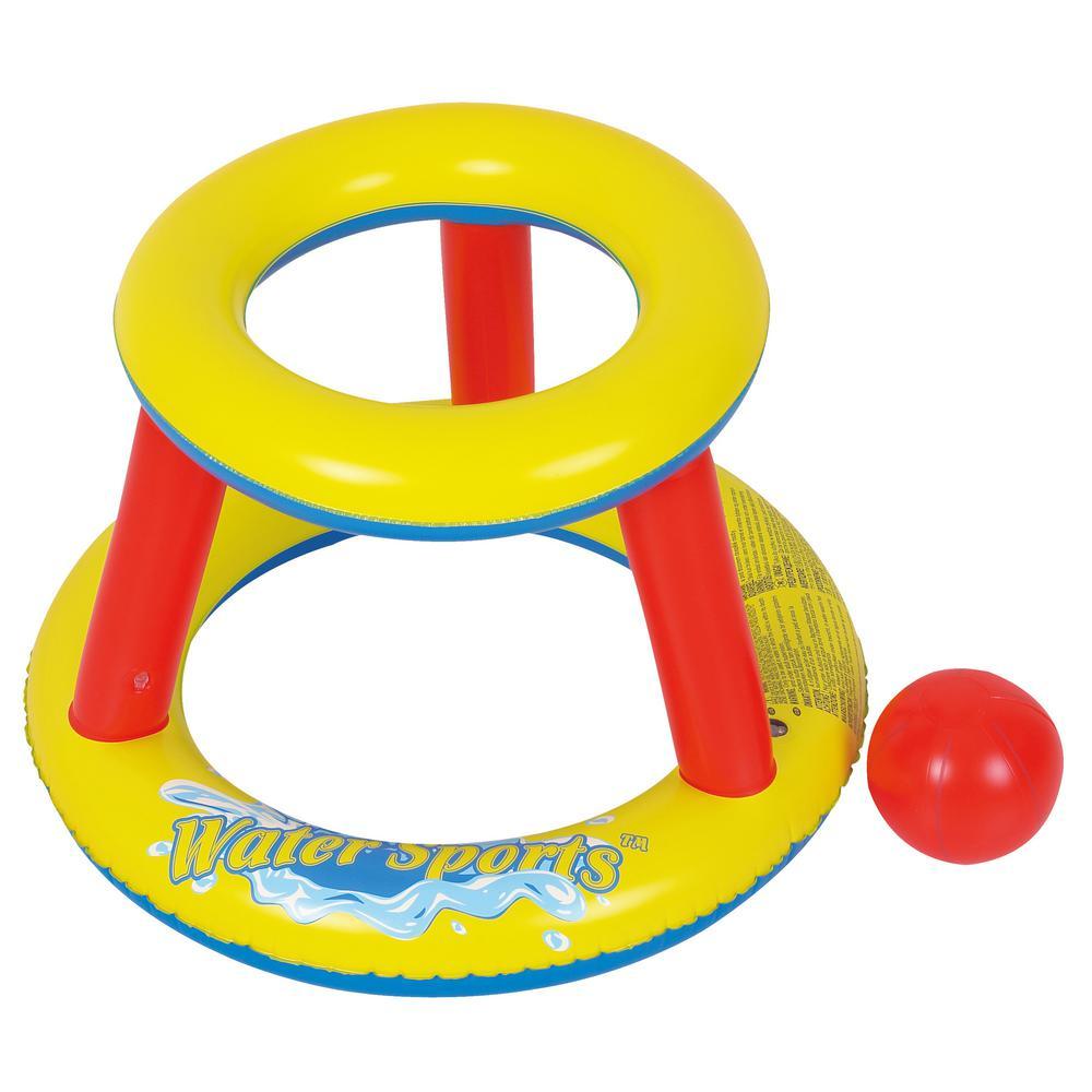 Rhino Master Inflatable Mini Splashketball Pool Game - Blow Up Basketball Hoop and Ball for Fun Water Sports