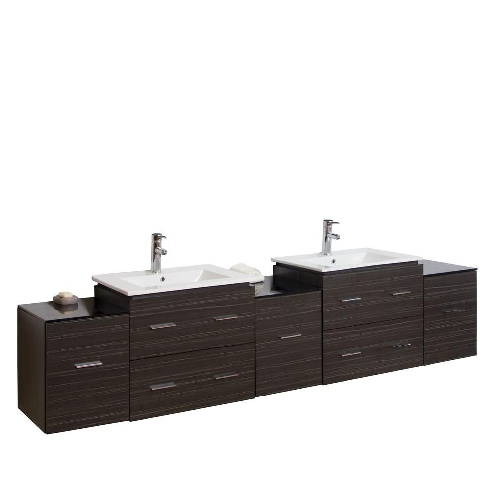 American Imaginations 90-in. W x 18-in. D Plywood-Melamine Vanity Set In Dawn Grey