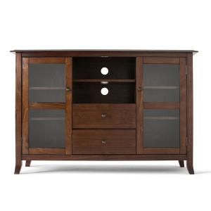 Artisan Solid Wood 53 in. Wide Contemporary TV Media Stand in Medium Auburn Brown for TVs Upto 55 in.