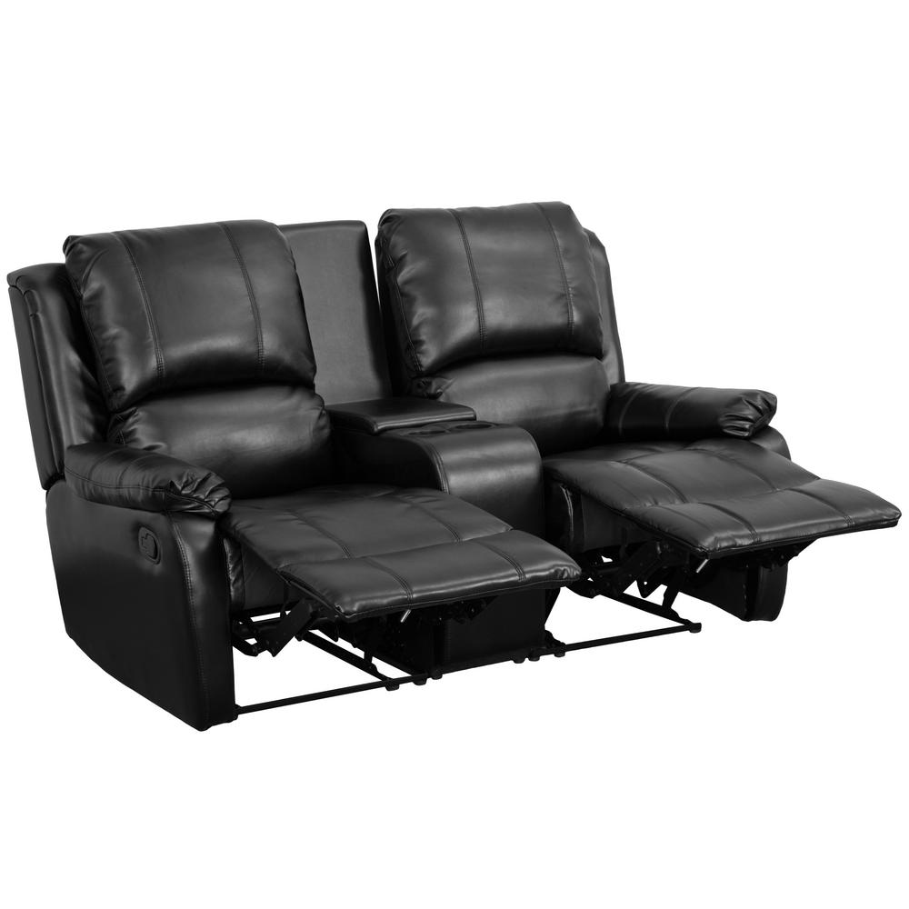 Flash Furniture Allure Series 2 Seat Reclining Pillow Back Black Leather Theater Seating Unit With Cup Holders Bt702952bk The Home Depot