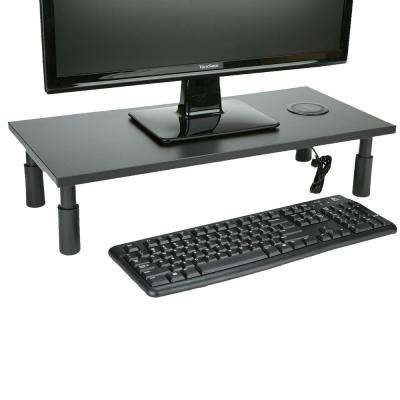 Monitor Stand with Wireless Charging Station, Adjustable Laptop, Monitor, Computer Riser, Keyboard Storage, Black