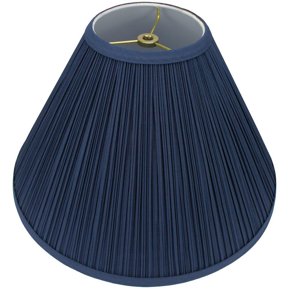 "Fenchel Shades 5"" Top Diameter x 15"" Bottom Diameter x 10"" Slant,  Coolie Lamp Shade - Pleated Mushroom Navy Blue"
