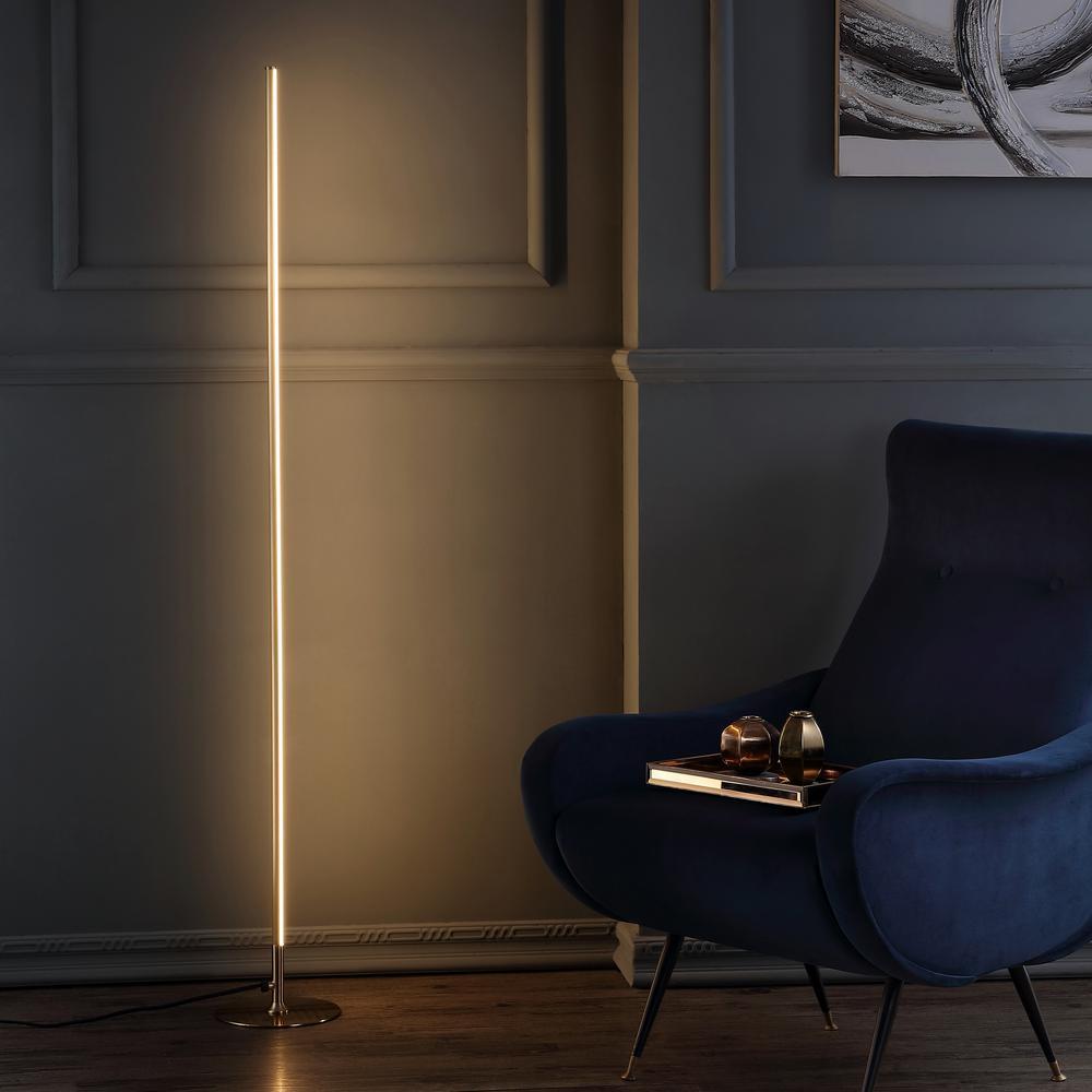 Iris 59.5 in. Gold LED Integrated Floor Lamp