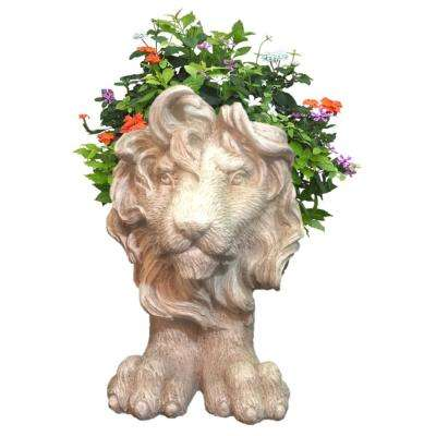 9 in. Antique White Lion Mascot Muggly Mascot Animal Statue Planter Holds 3 in. Pot