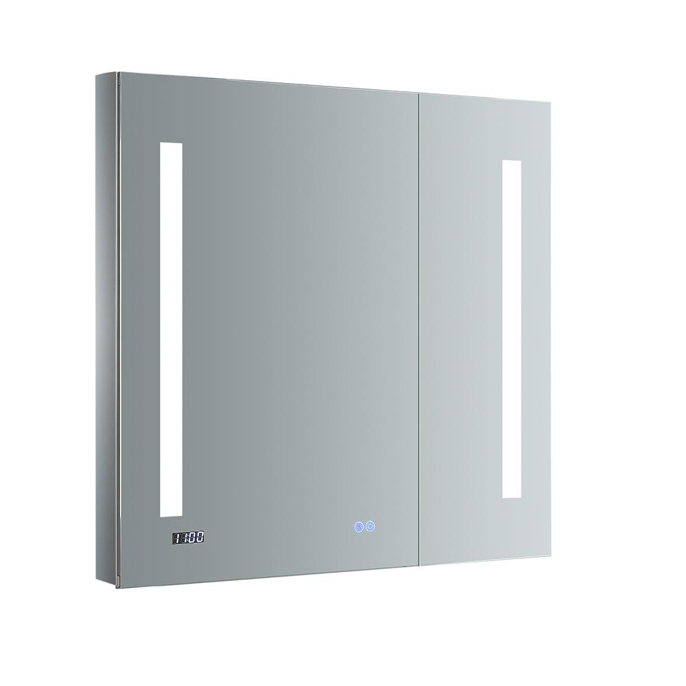 Fresca Tiempo 30 in. W x 30 in. H Recessed or Surface Mount Medicine Cabinet with LED Lighting and Mirror Defogger