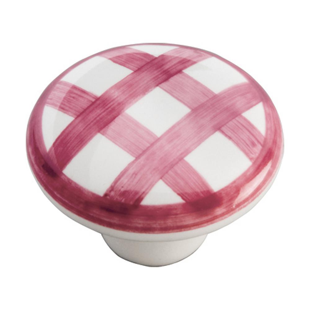 English Cozy 1-1/2 in. White/Red Checker Cabinet Knob