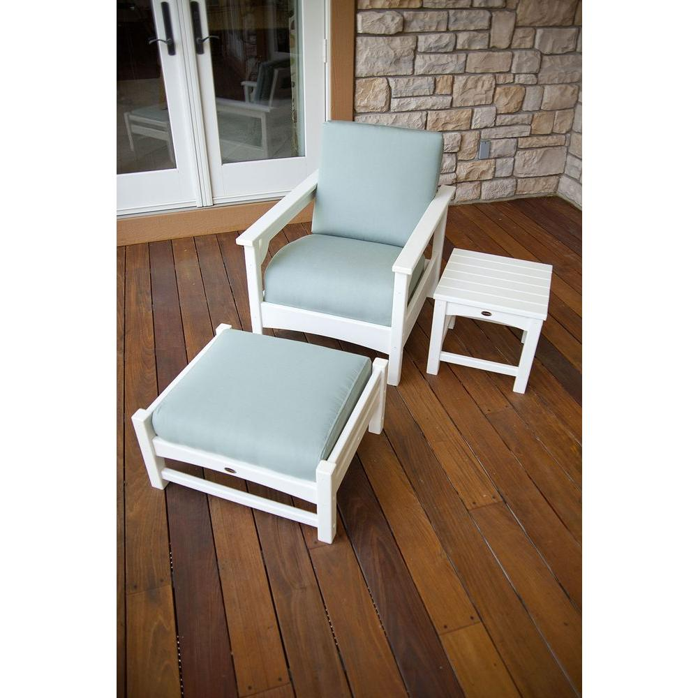 POLYWOOD Club White 3-Piece Patio Deep Seating Set-DISCONTINUED