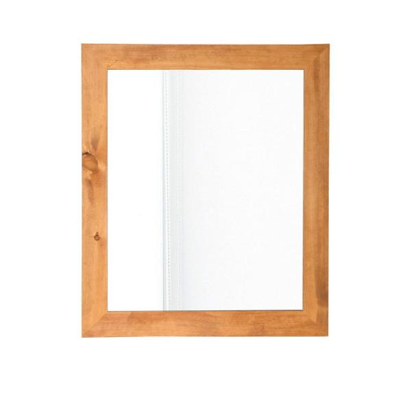 24.5 in. x 47.5 in. Classic Rectangle Light Brown Framed Accent Mirror