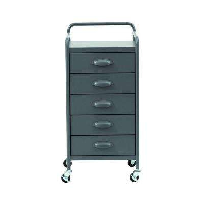 Steel 5-Drawer Cart in Grey