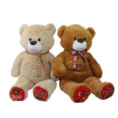 40 in. Christmas Stuffed Bears Figure Super Soft and Plush Brown and Beige (2-Pack)