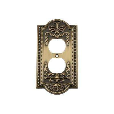 Meadows Switch Plate with Outlet in Antique Brass