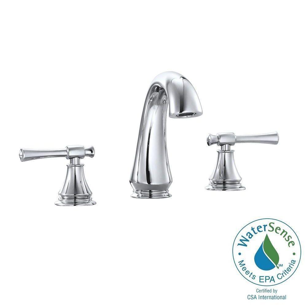 Triton 8 in. Widespread 2-Handle Mid-Arc Bathroom Faucet in Chrome with
