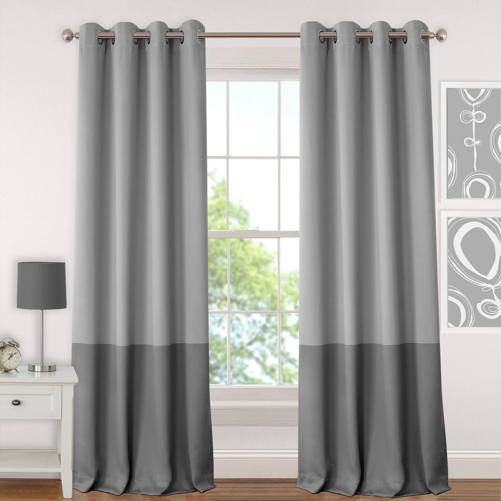 Blackout Juvenile 95 in. Teen or Tween Blackout Room Darkening Grommet Window Curtain Drape Panel in Gray